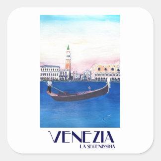 Gondole de Venise Italie sur le canal grand avec Sticker Carré