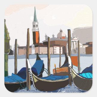 Gondoles attachées par des marques Venise carrée Sticker Carré