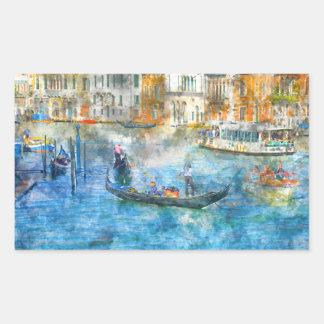 Gondoles dans le canal grand de Venise Italie Sticker Rectangulaire