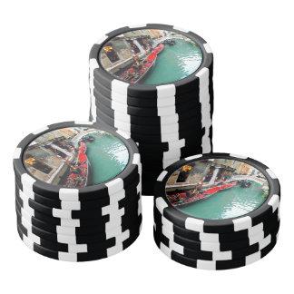 Gondoles sur un canal vénitien rouleau de jetons de poker