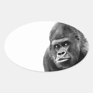 Gorille blanc noir sticker ovale