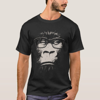 Gorille de hippie avec des verres t-shirt