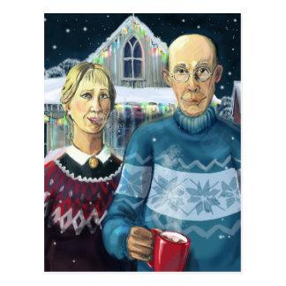 Gothique américain - parodie d'hiver carte postale
