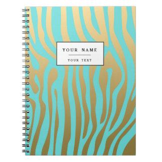 Goud en Patroon van de Strepen van Tiffany het Ringband Notitieboek