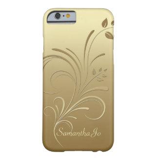 Goud op Gouden BloemeniPhone 6 van het Monogram Barely There iPhone 6 Hoesje