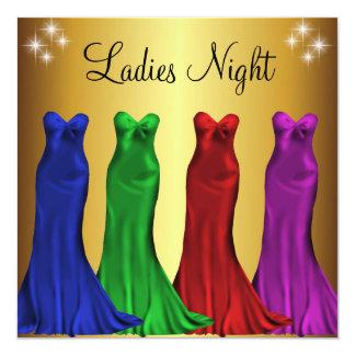 Goud van de Nacht van de Dames van de Toga's van 13,3x13,3 Vierkante Uitnodiging Kaart