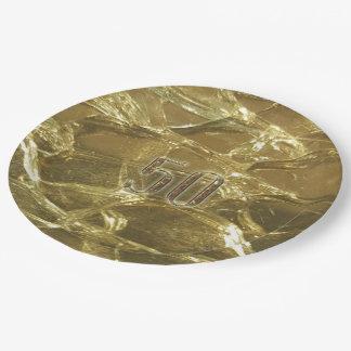 goud van het Jubileum van de 50ste Verjaardag van Papieren Bordje