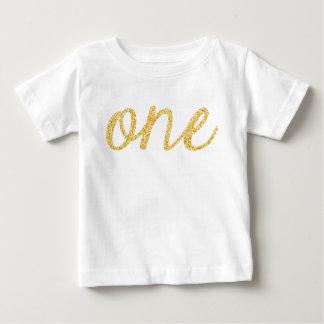 Gouden Faux schittert de 1st Verjaardag van het Baby T Shirts
