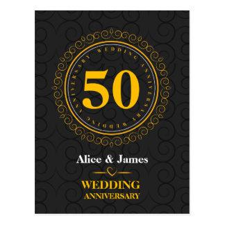 """Gouden """"gepersonaliseerde huwelijksverjaardag"""" briefkaart"""