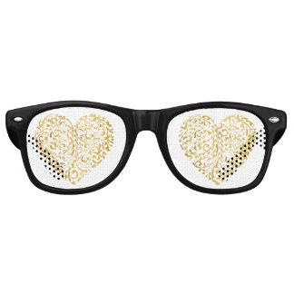 Gouden hartontwerp retro zonnebril
