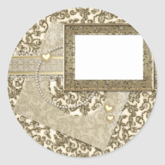Gouden Huwelijk of Jubileum met het Lijst van de Ronde Sticker