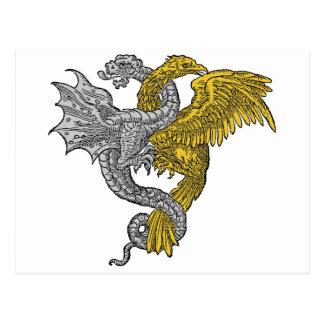 Gouden Ineengestrengeld Eagle en Zilveren Draak Briefkaart