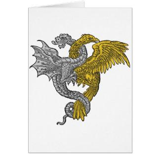 Gouden ineengestrengelde adelaar en zilveren draak briefkaarten 0