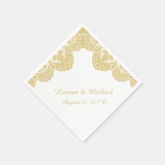 Gouden Kant Faux op Wit Huwelijk Papieren Servet