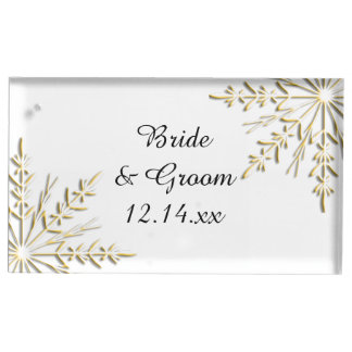 Gouden Sneeuwvlokken op het Witte Huwelijk van de Plaatskaart Houder