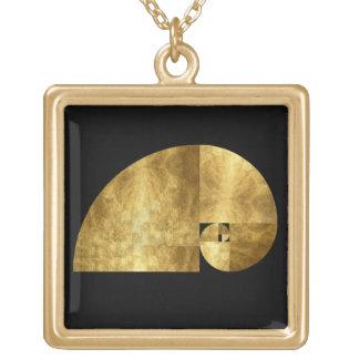 Gouden Verhouding, Spiraal Fibonacci Ketting Vierkant Hangertje