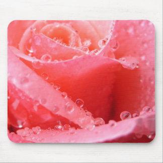 Gouttelettes de rose de rose - Mousepad Tapis De Souris