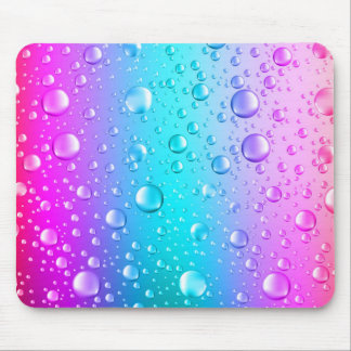 Gouttelettes d'eau bleues de gradient de roses tapis de souris