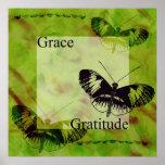 Grâce et gratitude d'inspirations de papillon posters