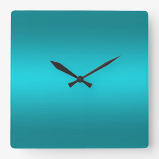 Gradient bleu d'Aqua foncé et léger - turquoise Horloge Carrée