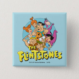 Grafische Flintstones en de Familie van het Puin Vierkante Button 5,1 Cm