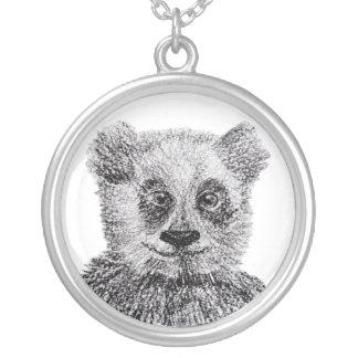 Grand argent d'ours panda plaqué autour du collier