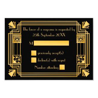 Grand art déco des années 1920 de Gatsby épousant Carton D'invitation 8,89 Cm X 12,70 Cm