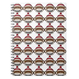 Grand carnet d'Emoji de singe de chaussette de