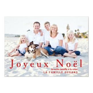 Grand carte photo moderne de Joyeux Noël en rouge Carton D'invitation 12,7 Cm X 17,78 Cm