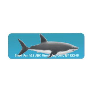 Grand étiquette de requin blanc