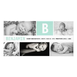 Grand faire-part de naissance multi initial de photocartes personnalisées