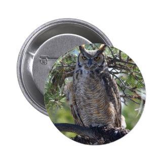 Grand hibou à cornes dans l'arbre badge rond 5 cm