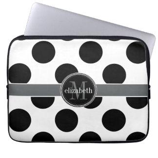 Grand monogramme noir et blanc de pois housse pour ordinateur portable
