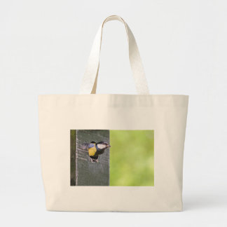 Grand parent de mésange en trou de pondoir grand tote bag