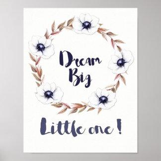 Grand petit le rêveur avec les fleurs blanches poster