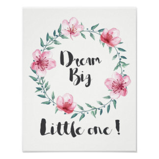 Grand petit le rêveur avec les fleurs roses poster