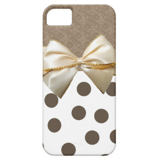 Grand pois vintage de Brown Coque iPhone 5 Case-Mate
