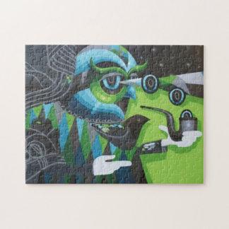Grand puzzle de hibou de père de graffiti avec la