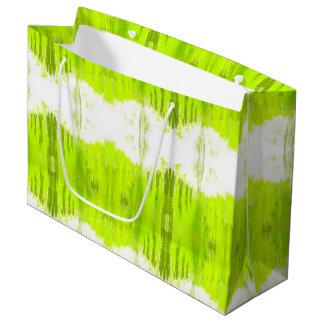 Grand Sac Cadeau Abrégé sur blanc et vert de kiwi