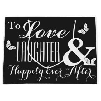 Grand Sac Cadeau Amour, rire et heureusement pour toujours