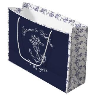 Grand Sac Cadeau Ancres blanches et bleues de bateau épousant la