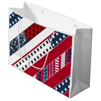 Grand Sac Cadeau Arrière - plan patriotique national blanc bleu