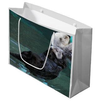 Grand Sac Cadeau Baigner la photo de loutres de mer
