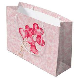 Grand Sac Cadeau Ballons de coeur