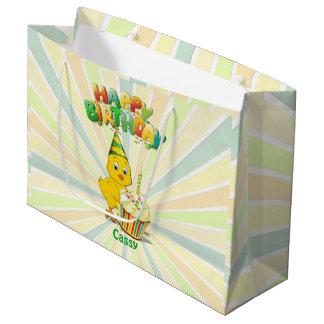 Grand Sac Cadeau Bande dessinée colorée de poulet d'anniversaire