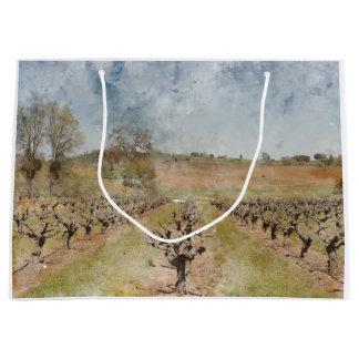 Grand Sac Cadeau Beau vignoble au printemps