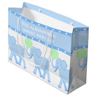 Grand Sac Cadeau Bébé doux de baby shower bleu du cirque | mignon