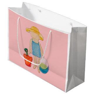 Grand Sac Cadeau Bébé rose d'enfant en bas âge de Shell à la plage