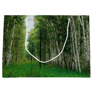 Grand Sac Cadeau Belle forêt d'arbre de bouleau