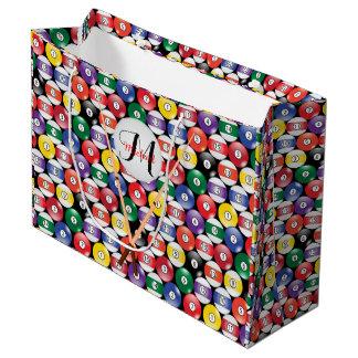 Grand Sac Cadeau Boules de piscine de billard avec le monogramme